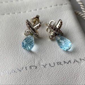 🛍 David Yurman Blue Topaz Diamond Drop Earrings